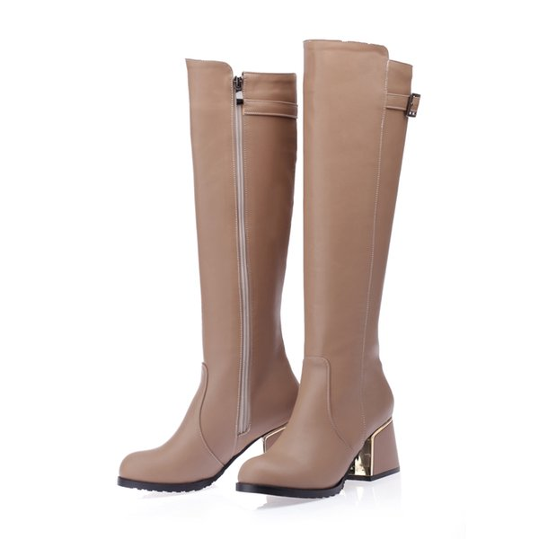 New Hot Fashion Women's Synthetic Leather Shoes Platform High Heel Zip Buckle Knee Boots WB276 White, Beige, Black