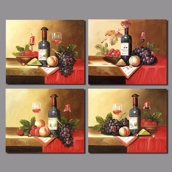 Still life wine glasses grape fruit red candle living room decoration canvas painting printed wall hanging home decor unframed