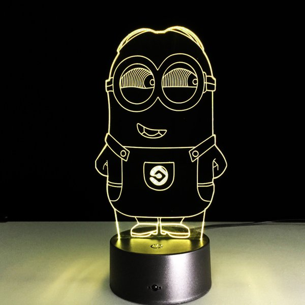 2016 Minion Style 3D Optical Illusion Lamp Night Light DC 5V USB Charging 5th Battery Wholesale Dropshipping Free Shipping