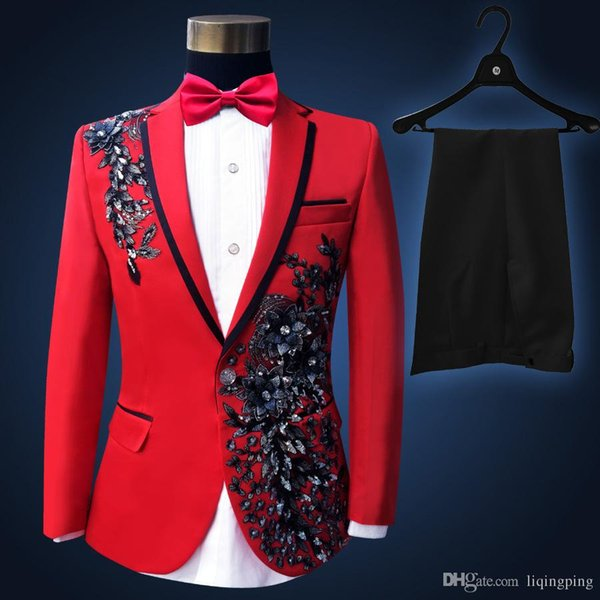 High Quality 2017 Plus Size Red Sequins Costume Men Paillette Singer Slim Performance Wedding Party Prom Suit & Blazer for Mens S-3XL