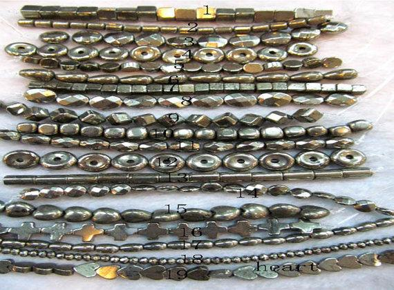 Sale 10strands 4-16mm genuine Raw pyrite stone iron gold box square cube donut freeform rice barrel coin round oval faceted pyrite bead