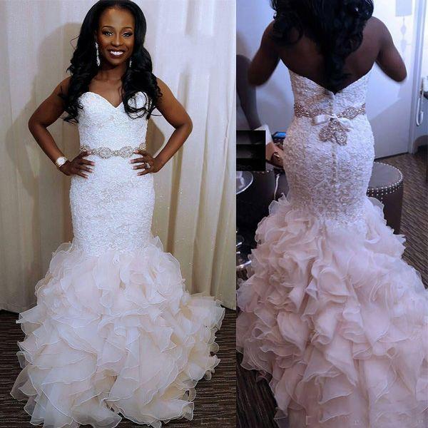 Lace Mermaid Ruffles Wedding Dresses 2017 Sweetheart Applique Pearls Buttons Back Tiered Skirt With Beaded Belt Vestidos De Noiva