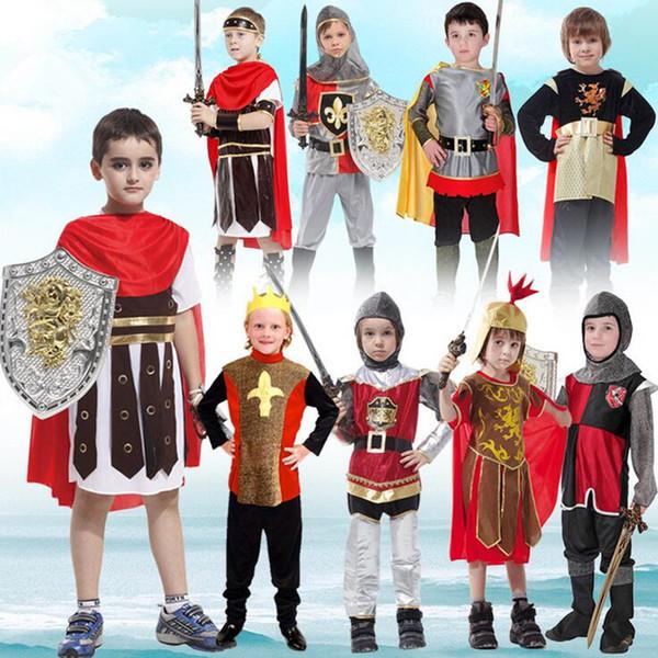 2018 Ancient Rome Costume Warrior Cosplay Niños Ropa para Niños Disfraces de Carnaval Disfraces Fiesta de Halloween Suministros