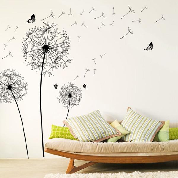 grand noir fleur de pissenlit stickers muraux décoration de la maison salon chambre à coucher meubles art stickers papillon peintures murales