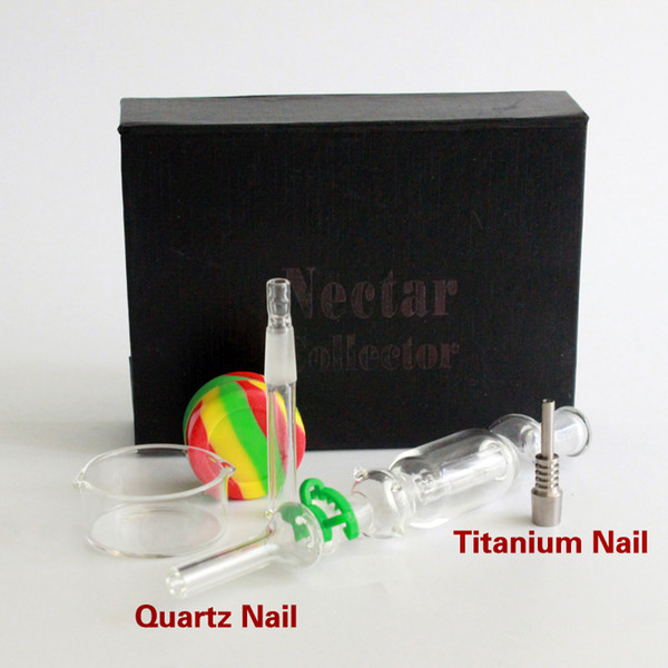 10MM Nectar Collector kit with quartz /titanium nail glass oil rigs water pipes includ Plastic Keck Clip