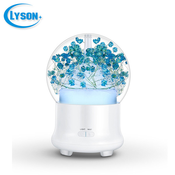 Preserved Fresh Flower 7 Color-changing LED Ultrasonic Aroma Air Humidifier Mini Essential Oil Diffuser 100ml Baby's Breath Cyan
