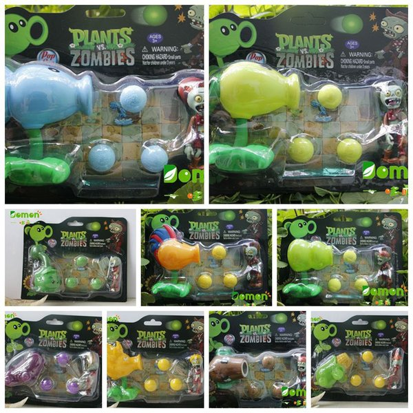 New Hot Plants vs Zombies Figure Toys Gatling Pea PVC Shooting Doll PVZ Toys 17 styles for choices 5PCS