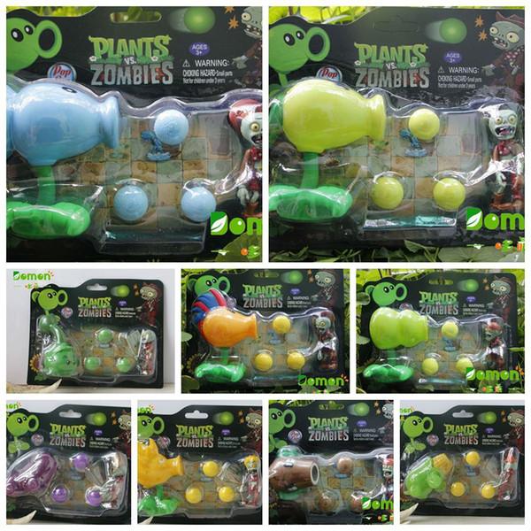 New Hot Plants vs Zombies Figure Toys Gatling Pisello PVC Shooting Doll PVZ Toys 17 stili per le scelte 5PCS