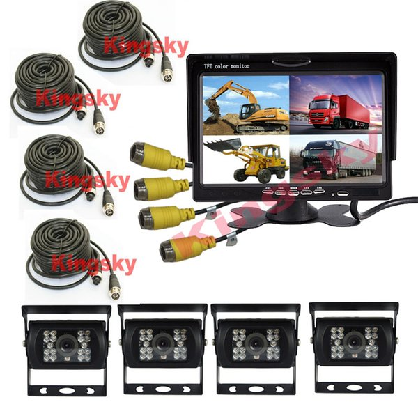 "4x 4Pin 18 LED Rear View Reversing Camera 12V~24V 7"" LCD Car Parking Monitor With 4CH Quad Split Monitor For Truck Caravan Vans"