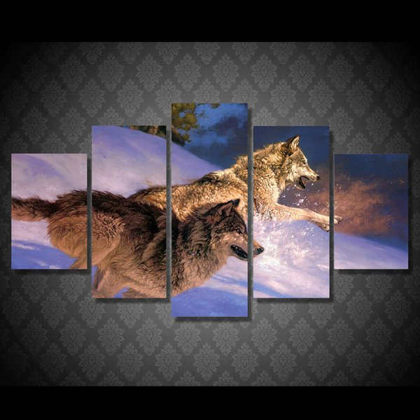 5 Pcs/Set Framed Printed Two wolves running in the snow Painting Canvas Print room decor print poster picture canvas Free shipping/ny-4977