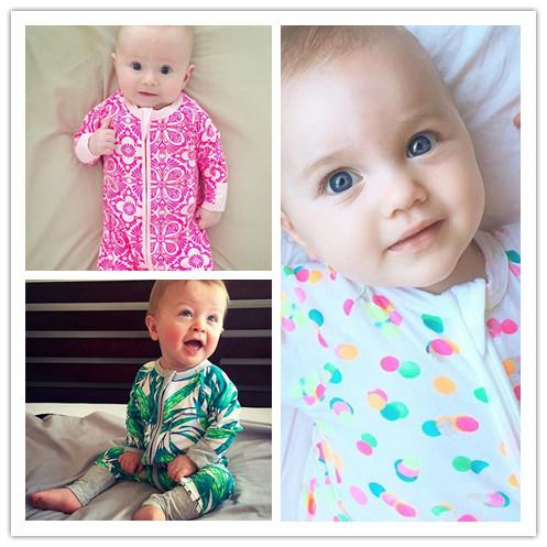 Baby clothes Boy girl Rompers Prints with Hand feet covers Bamboo leaf / flowers Zipper jumpsuits Toddler Ins new design 2019 Autumn winter