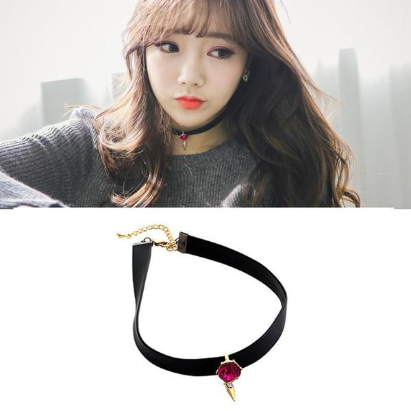 Torques vintage chocker necklace gothic punk short leather necklaces fashion women collier bijoux fashion jewelry black Pendant Necklaces