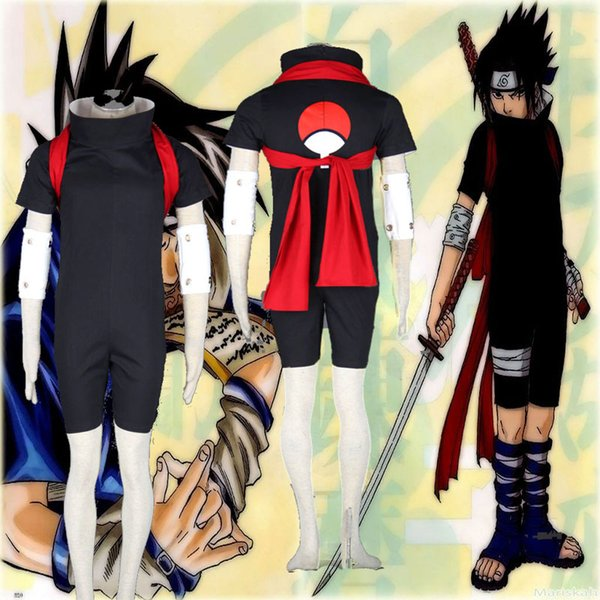 Popular Cartoon Character Costumes Deluxe Naruto Sasuke Uchiha Mens Naruto Cosplay Costume For Unisex Full Set Groups Of Four Costumes Halloween
