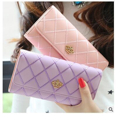 2017 High Quality Women Wallets Leather Long Ladies Luxury Purse Women's Fashion Embroidery Diamond Crown Lady Flip Long Wallet
