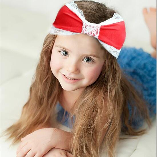 16 Colors Baby Girls Lace Headbands Bows Cute Lovely Hairbands Children Cotton Headwraps Kids Elastic Turban Headscarf Free shipping KHA515