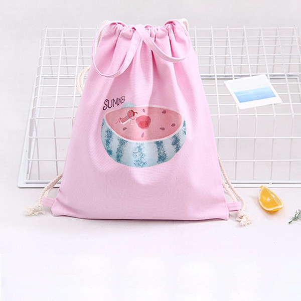 Wholesale- Hot Sale 2016 New Fashion bag Backpack Schoolbag Women Watermelon Drawstring Beam Port Backpack Shopping Bag Travel Bag