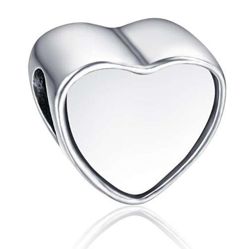 Сплав Индивидуальных заготовок сердца фото шарик металл Slider Большой дыра европейских Подвеска Fit Pandora Chamilia Biagi браслет