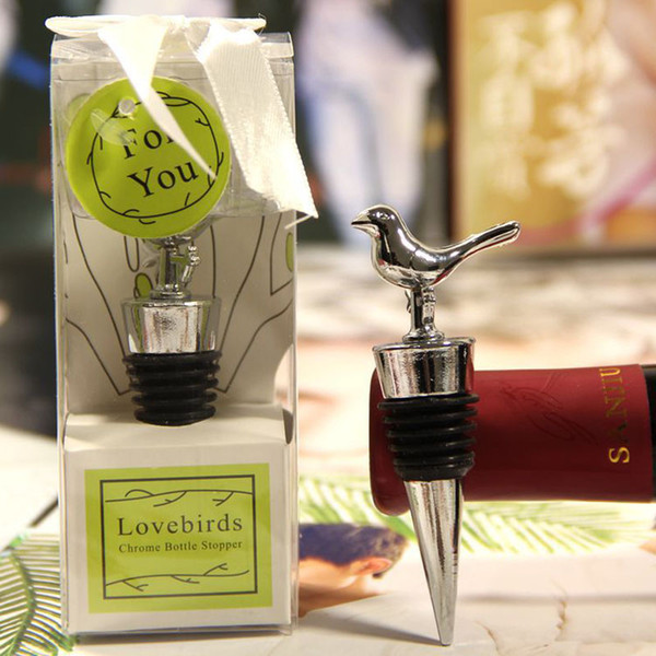 Love Birds Design Wine Bottle Stoppers Wedding Party Favors With Gift Boxes Guest Gift For Men Free Shipping ZA4364