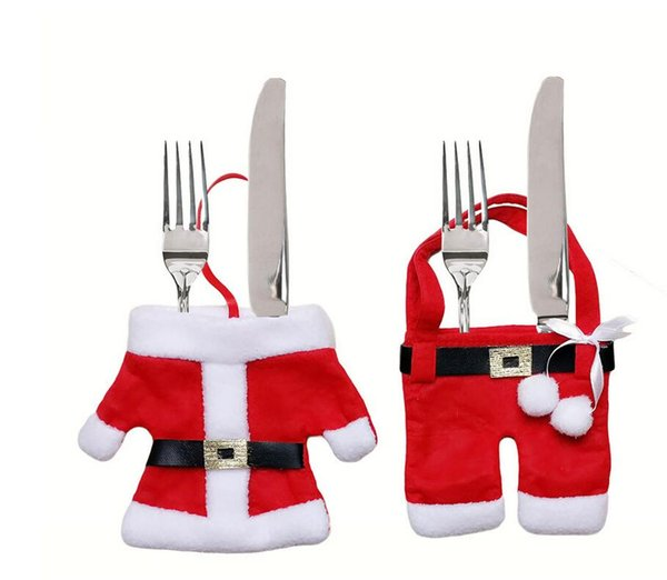 Kitchen Cutlery Suit Silverware Holders Pockets Knifes Folks Bag Snowman Christmas Santa Claus Christmas Hotel Decoration Dinnerware Sets