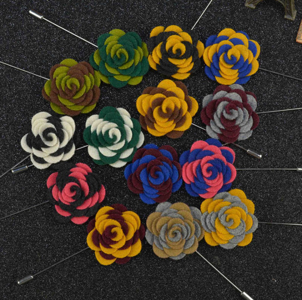 44 colors New fashion men brooch flower lapel pin 3.5cm suit boutonniere Felt cloth pin 16 colors button flower Stick brooches for wedding