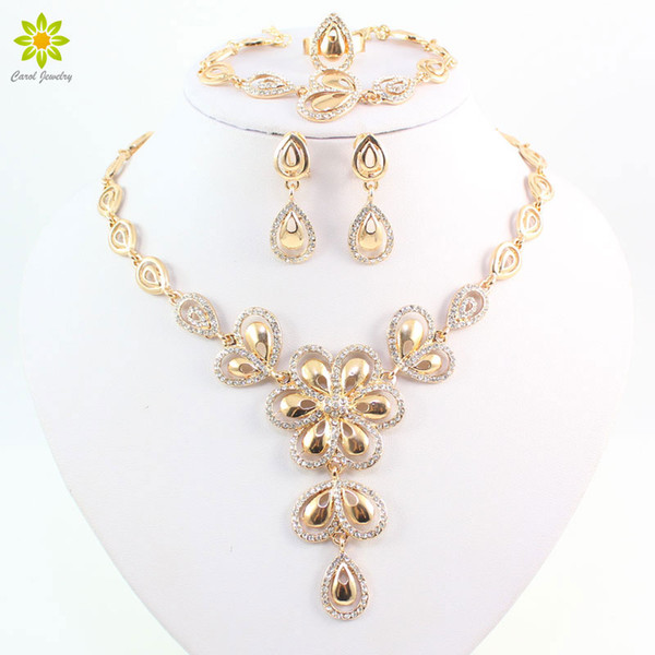Fashion Crystal Flower Necklace Earrings Bracelet Ring Set For Women Gold Plated African Costume Jewelry Sets