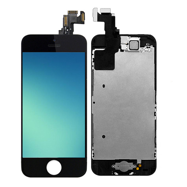 For iPhone 5 5S 5C LCD Display Screen Touch Digitizer Full Assembly Replacement with Home Button Front Facing Camera