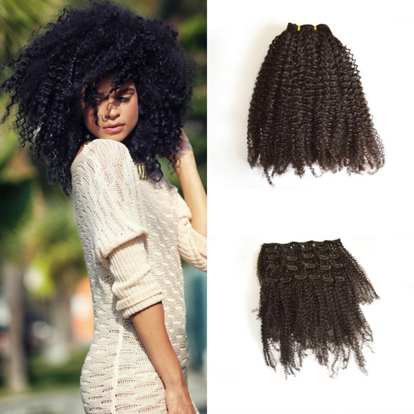 G-EASY Clip In Human Hair Extensions Vietnamese Virgin Hair Afro Kinky Curly Clip in Hair Extensions Natural Kinky Curly Clip Ins