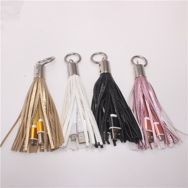 Tassel Charging Cable USB Metal Ring Key Chain Tassels Portable Micro USB Short Charging Data Cord Charger Cable for samsung s6 s7 edge new