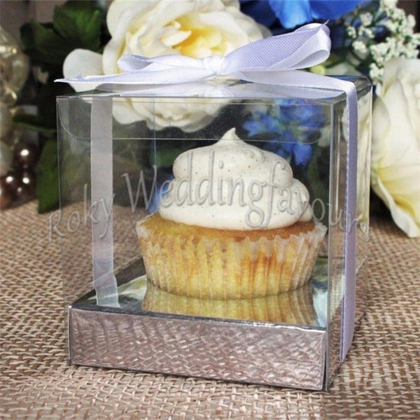 FREE SHIPPING 50PCS 9X9X9CM Square andTransparent PVC Cupcake Boxes Wedding Favors Holder PVC Cupcake Package Party Sweet Boxes