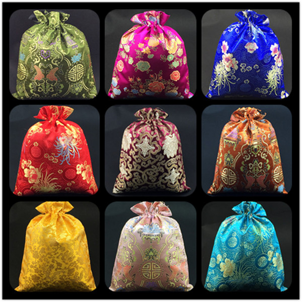 Luxury Floral Chinese Silk Brocade Pouch Bag for Shoes Travel Storage Bag Drawstring Decorating Gift Bags Shoe Dust Cover 50pcs/lot