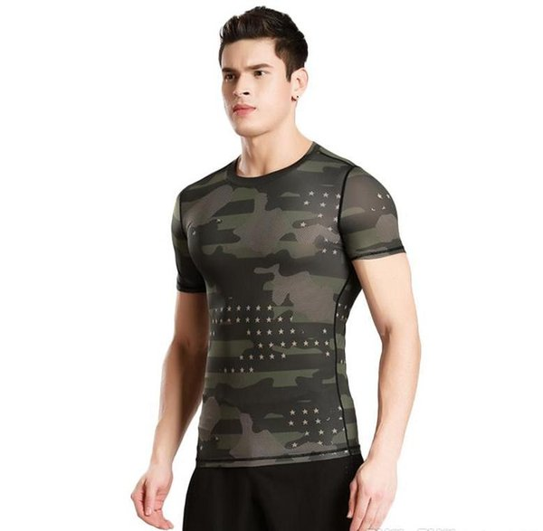 Short    leeved tight  fitne   clothe  men   039    port  outdoor camouflage clothing  weat per piration dry clothe  ba ketball running t