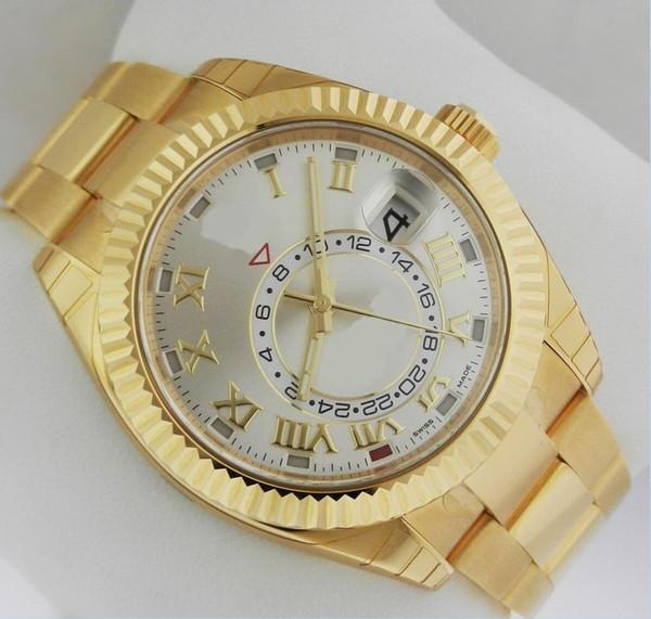 NEW Luxury Wrist watch Sky Dwelle 326939 18k Yellow Gold 326938 Silver Dial Roman Dial 42 MM Automatic Mechanical Mens Watch Watche