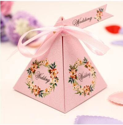 100 Pcs NEW European style pink purple blue 6 colors Pearl paper triangle pyramid Wedding box Candy Box gift boxs wedding favour boxes TH190