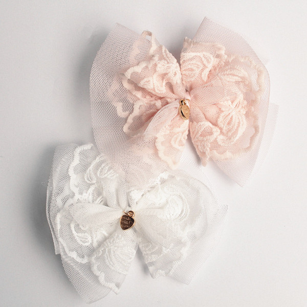 Lace Gauze Korea Style10pc/lot Hair Clips Lovely Gauze Bows Baby Kids Hairbands with Mini Hearts Princess Headbands White Hair