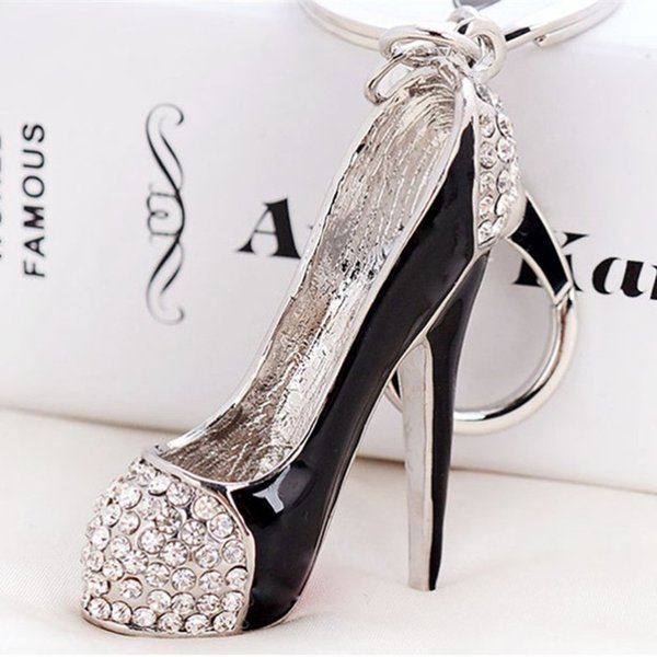 High Heel Shoes Keychains Rhinestone Car Key Rings Silver Plated Women Bag Charms Key Chains Keyrings Fashion Crystal Key Holder.