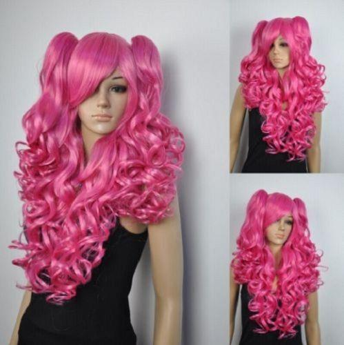 free shipping charming beautiful new Hot sell Best New pink colors Lolita Girl women long wavy curly Cosplay wig 2 ponytail
