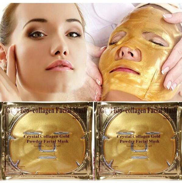 Cura della pelle Maschera per il viso al bio-collagene d'oro Maschera per il viso in polvere di cristallo d'oro collagene idratante Anti-invecchiamento Maschere in oro 24k Bucce