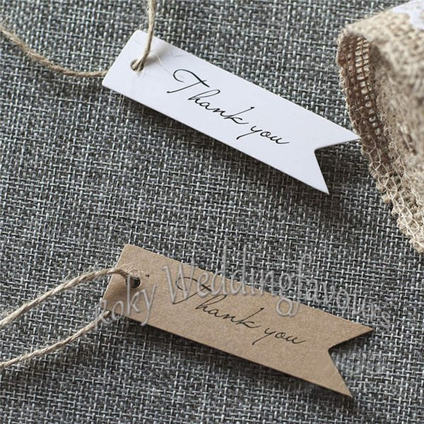 Free Shipping 100PCS Kraft Paper Thank You Tags Brown/White 2x7cm Wedding Gift Flag Tags Free Twines DIY Supplies Paper Label
