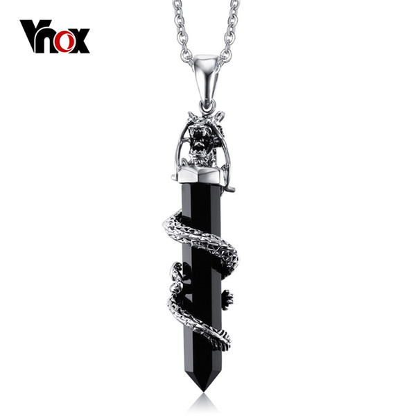 new vnox men's pendant dragon design fashion stainless steel imitation agate necklaces pendants for men party jewelry, Silver