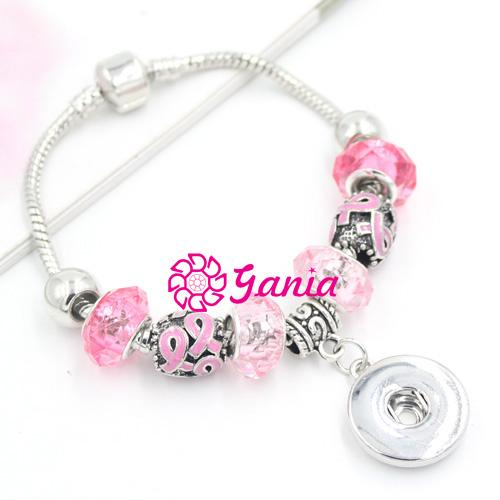 New Arrival Wholesale Breast Cancer Awareness Jewelry Pink Ribbon European Bead Breast Cancer Snap Bracelet DIY Interchangeable