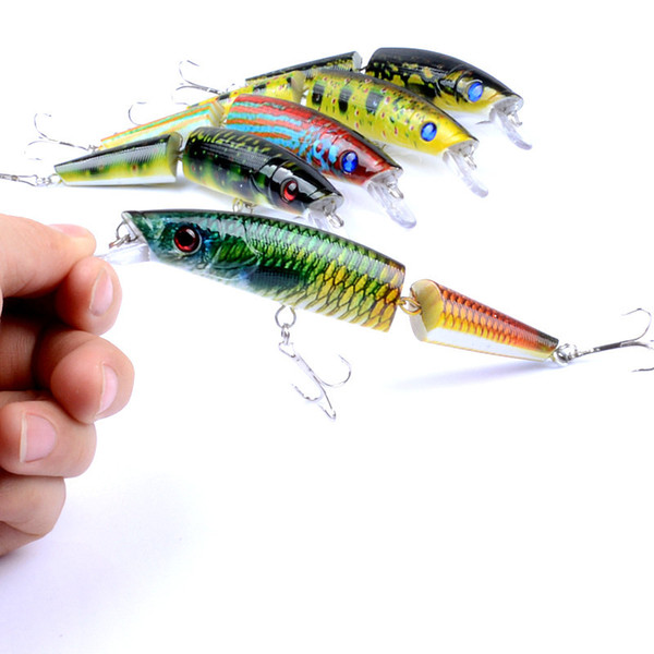 New PS Painted Laser Minnow Jointed Fishing bait 14cm 21.7g 3D Eyes Deep Diving 2 Segements Artificial lure Fishing Tackle