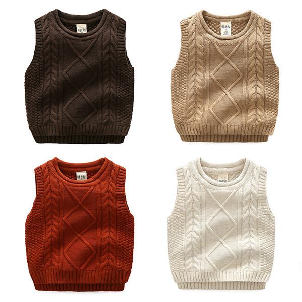 124a77bb353854 Boy Knit vest Kids Sweater Solid Dimond Twist Fashion Children clothes 2017  All-matched children Autumn winter cotton knitwear 3-7years