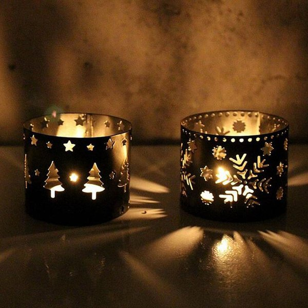 100pcs European Iron Hollow Out Black White Deer Candlestick Christmas Decoration Home Furnishing Candle Holders ZA5434