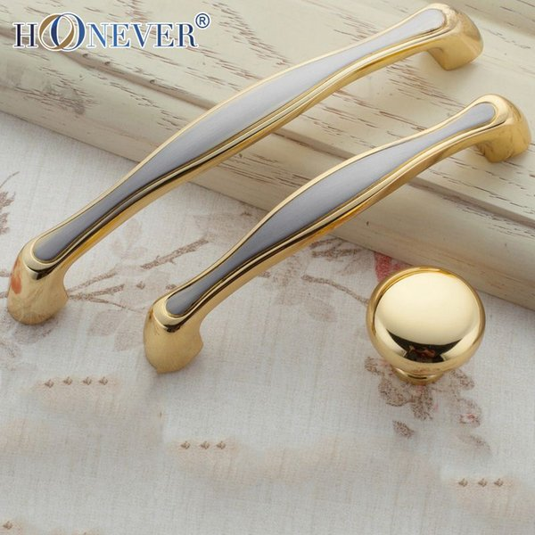 5pcs European Door Handle Gold Hardware Kitchen Cupboard Cabinet ...