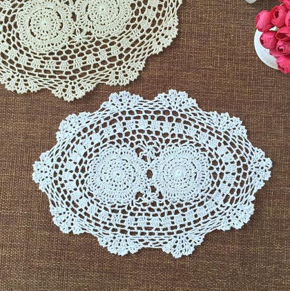 hand crochet centerpieces for wedding, handmade placemats OVAL, crochet doilies for home decor, handmade crochet coaster,Lot of 6 pcs