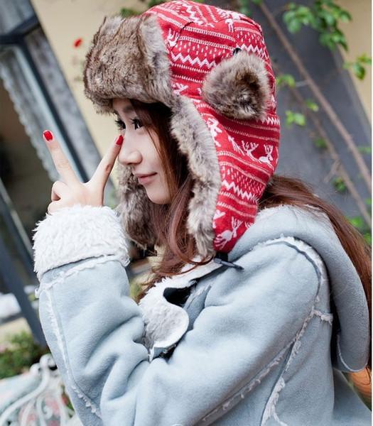 Al por mayor-2016 Moda caliente frío gorro de nieve Lady Beanie Knitted Caps sombreros de mujer al aire libre caliente del deporte