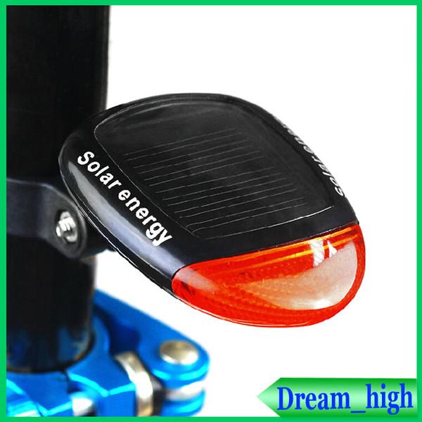 Lumières de bicyclette Énergie solaire 2 DEL rouges lumineuses Imperméable à l'eau de la lumière de la lampe arrière de la queue de vélo