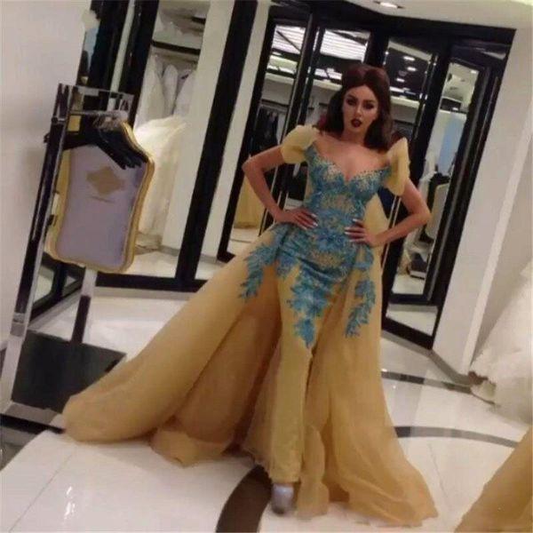 Arabic Evening Dresses 2017 Lace Applique Vestidos De Festa Short Sleeves Sweetheart Mermaid Prom Party Dress With Detachable Train