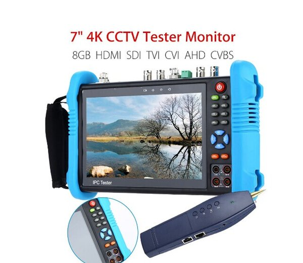"7"" 4K CCTV IP Tester Monitor 8GB SDI TVI CVI AHD CVBS Camera Multimeter PTZ POE Test WIFI HDMI Video Onvif H.265"