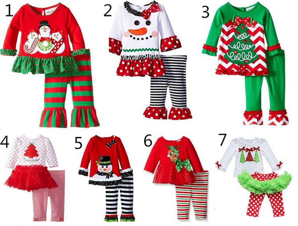 top popular 2016 baby Christmas outfit girls deer christmas tree t-shirt + ruffle pants 2pcs sets children polka dot tops kids spring fall wear outfit 2021